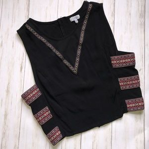 TOBI Aztec Festival Crop Top Embroidered